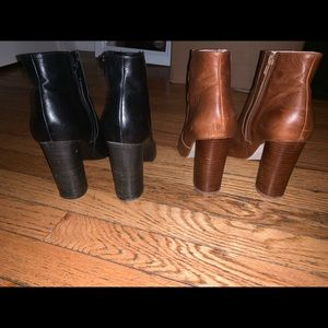 Black and Tan pointed toe booties